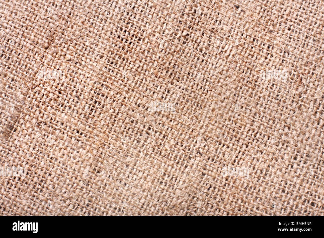 Nahaufnahme von Sackleinen Textur Stockbild