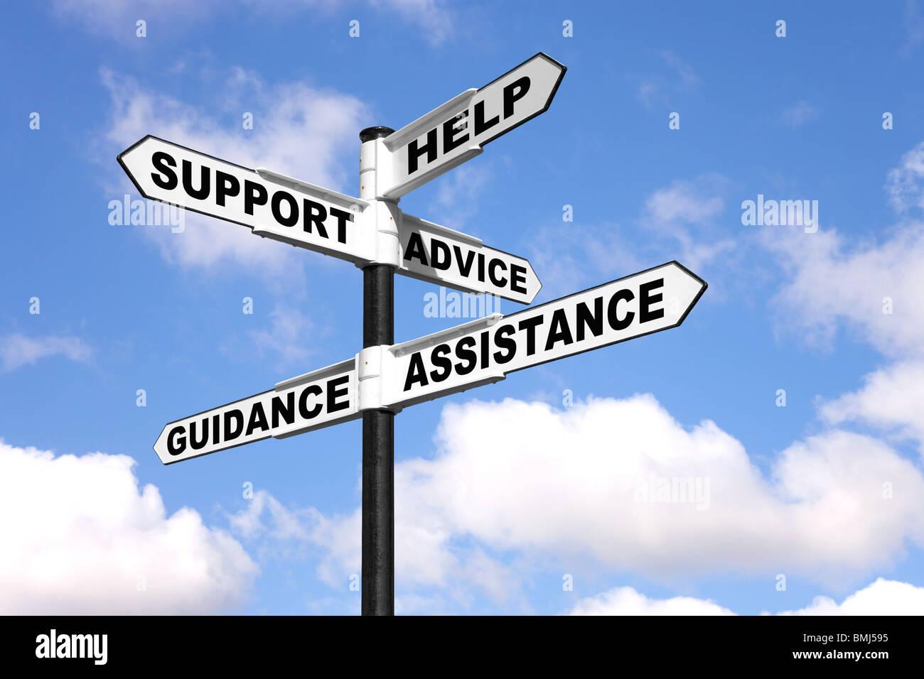 Helfen Sie Beratung, Unterstützung und Beratung auf ein Wegweiser Stockbild