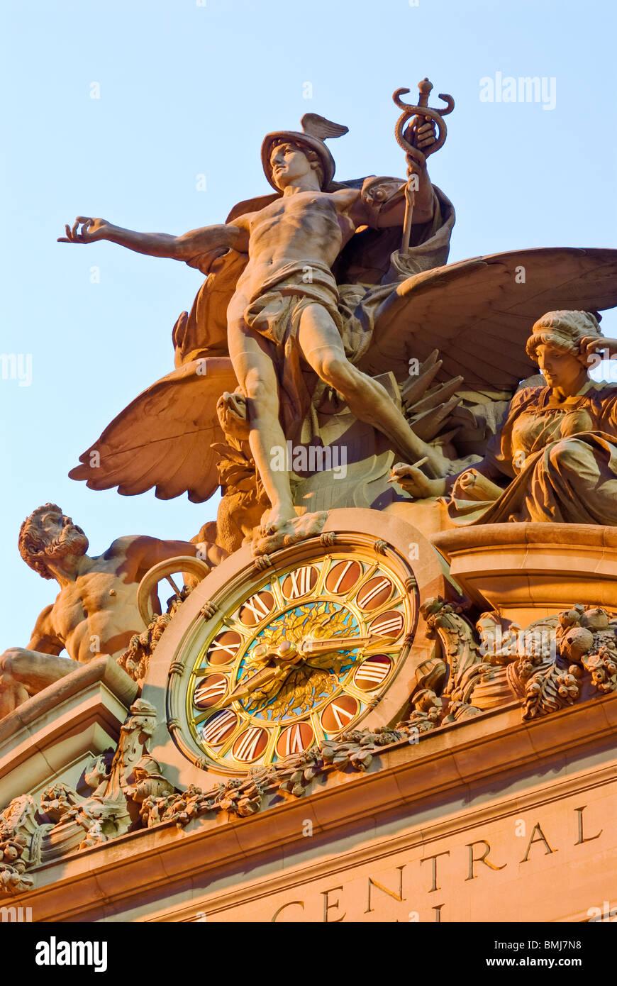 Statue von Quecksilber, Grand Central Terminal in New York City. Stockbild