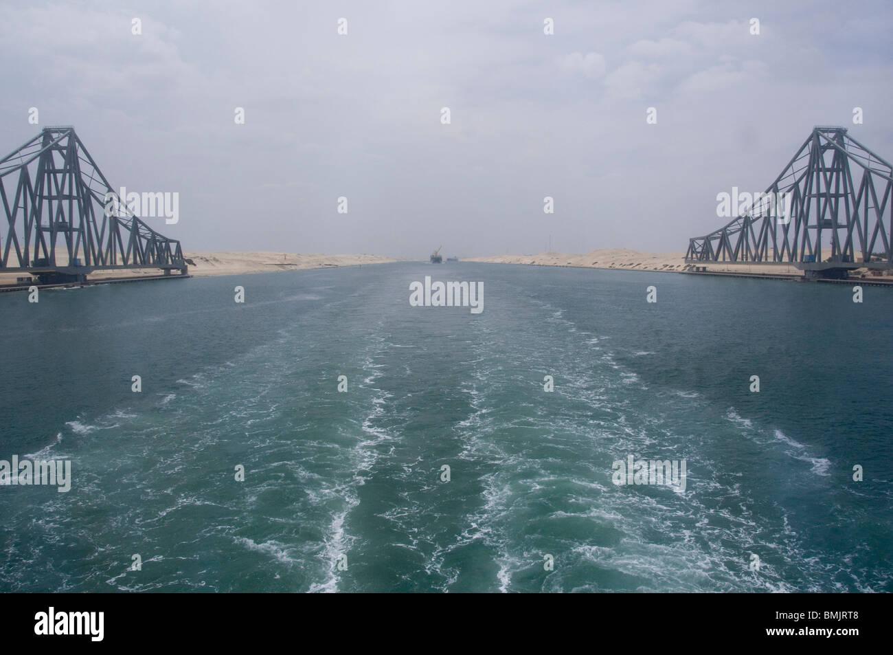 Ägypten, Suez-Kanal. Brücke zwischen Asien & Afrika, längste Hängebrücke der Welt. Stockfoto