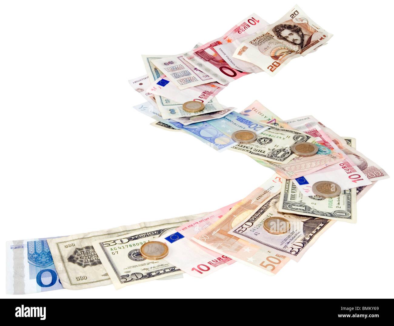Weg der verschiedenen Geld Währung isoliert mit Beschneidungspfad Stockbild