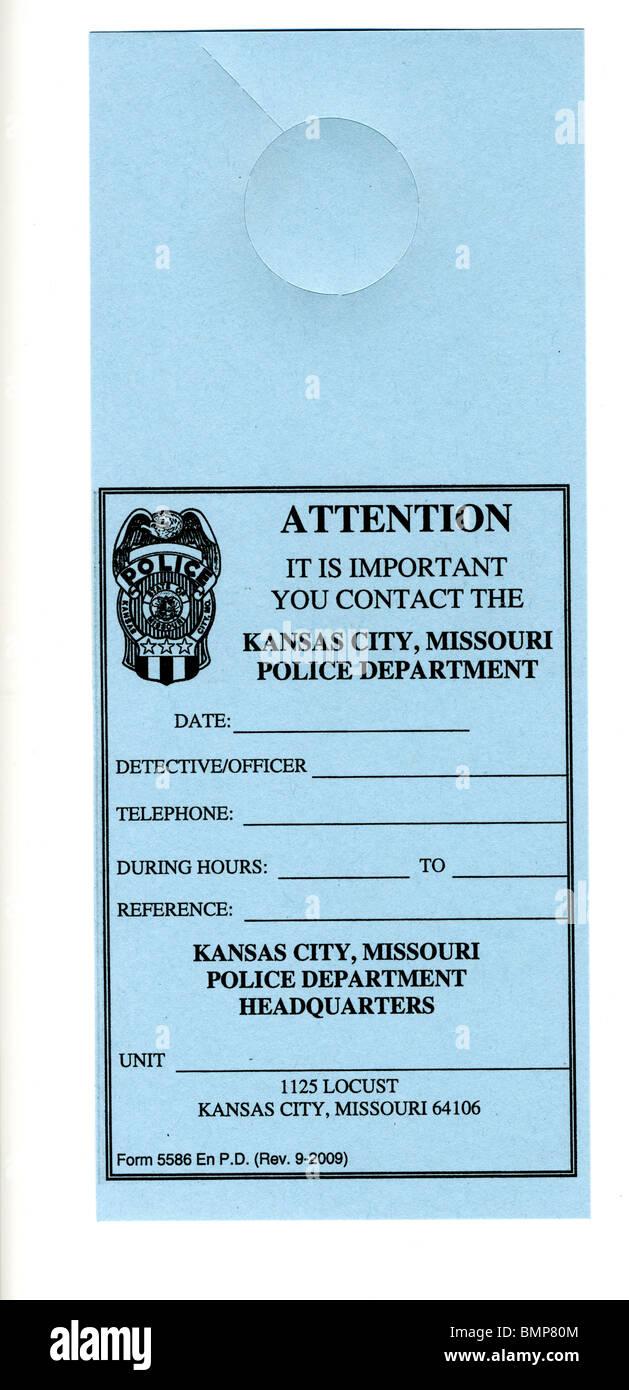 Türschild, von der Polizei verwendet, wenn sie wollen, zu einem Individuum zu sprechen. Normalerweise verwendet, Stockbild