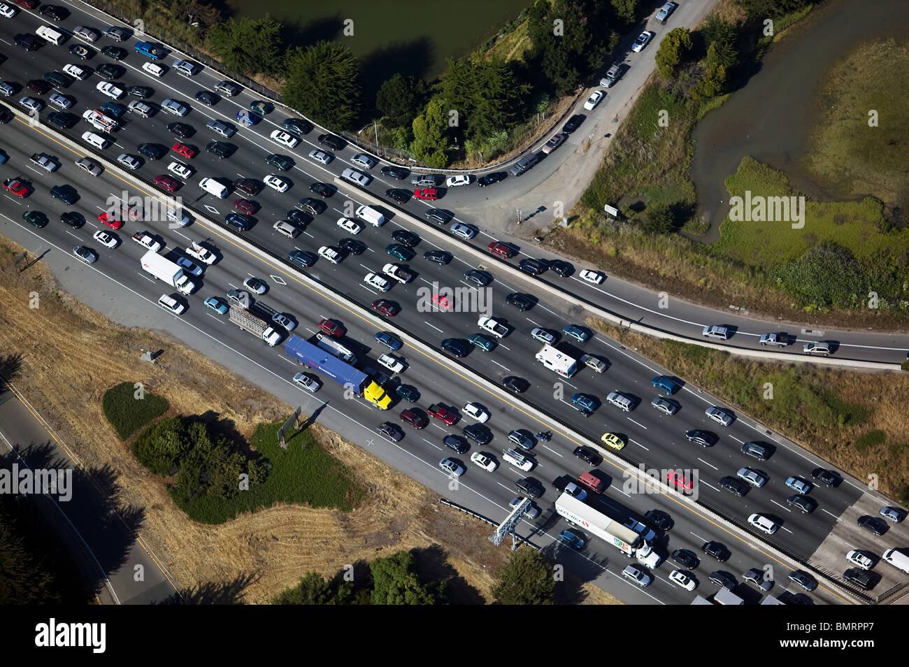 Luftaufnahme über Traffic jam interstate 80 Emeryville Berkeley California Stockbild