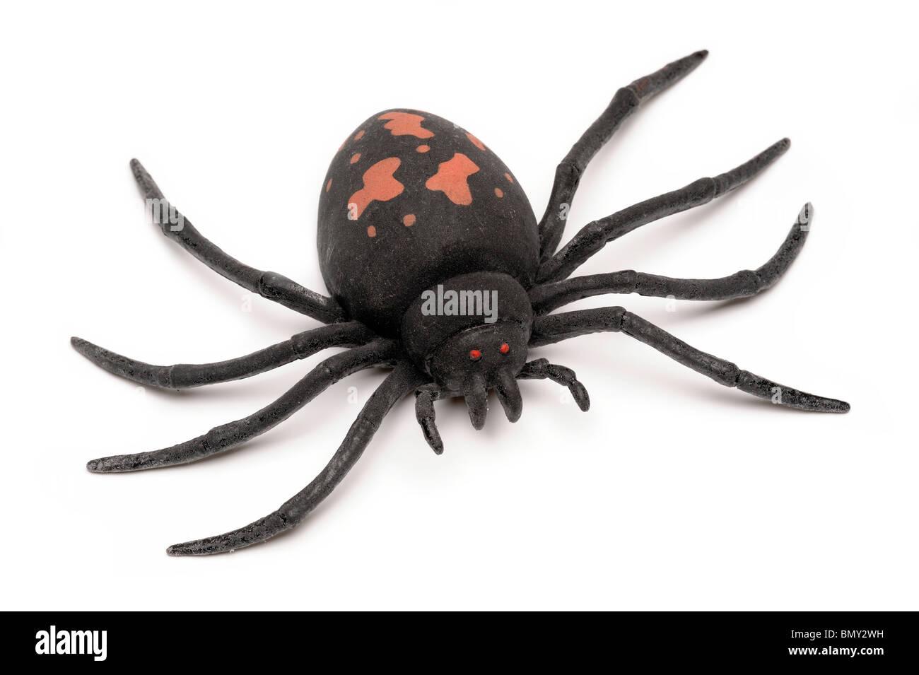 Große schwarze Spielzeug Kautschuk Spinne Stockbild