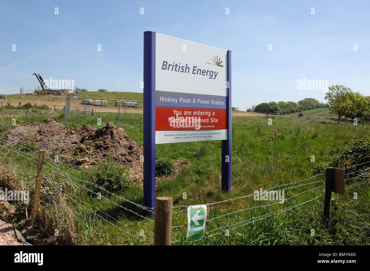 Website wo vorgeschlagenen Hinkley C-Kernkraftwerk gebaut werden würde. Stockbild