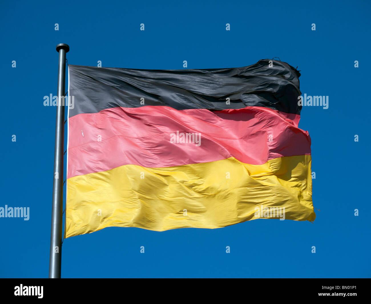 Nahaufnahme der deutschen Flagge Stockbild