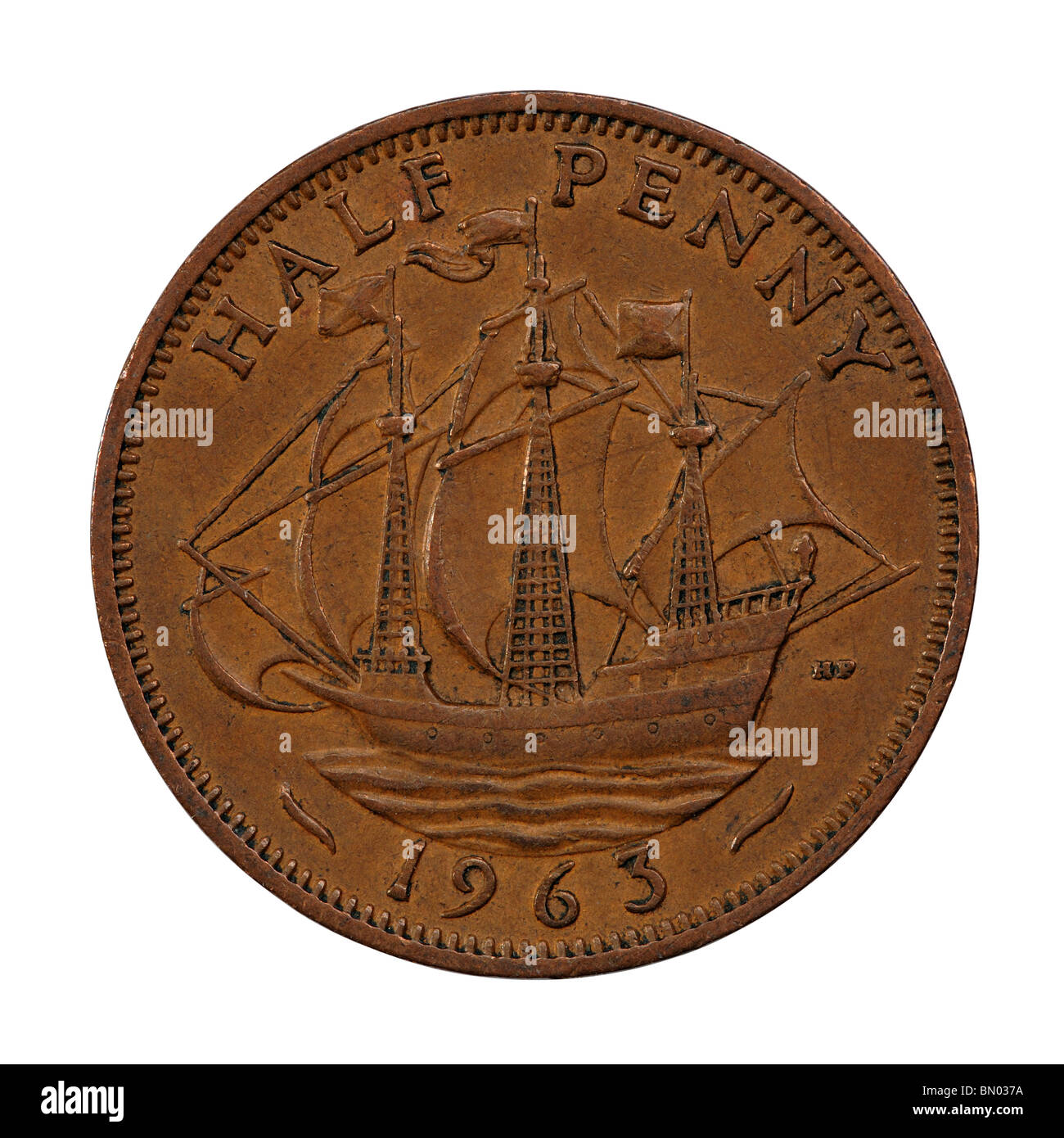 Halben Penny Münze Stockbild