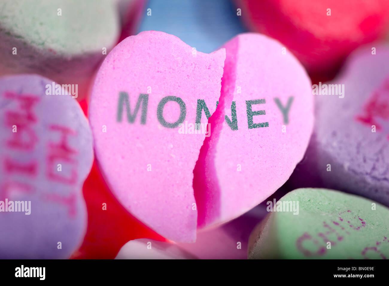 Geld gegen Liebe Stockfoto