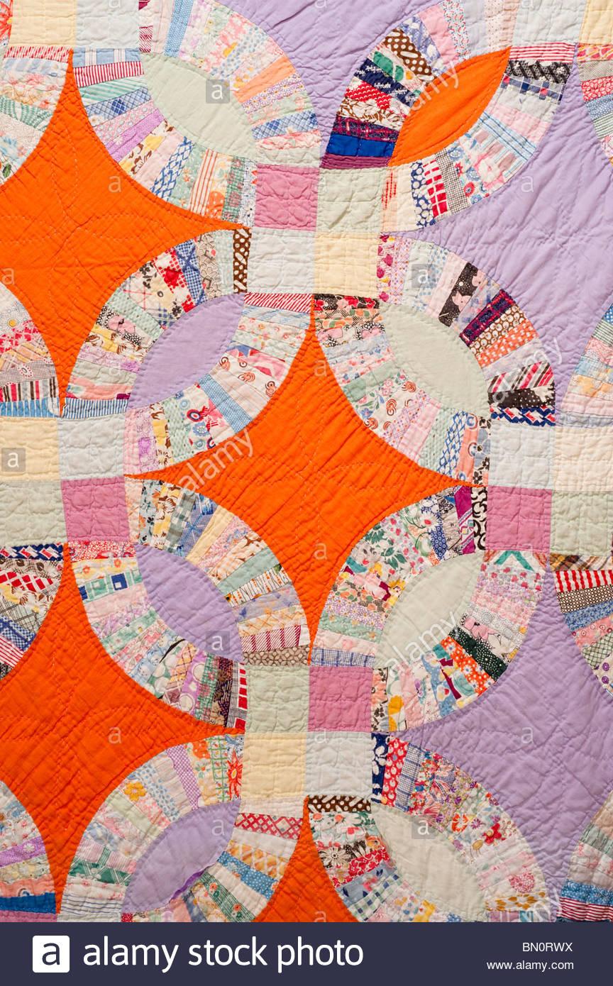 20er 30er Jahre Hand Made Ehering Quilt Details mit Orange Karo ...