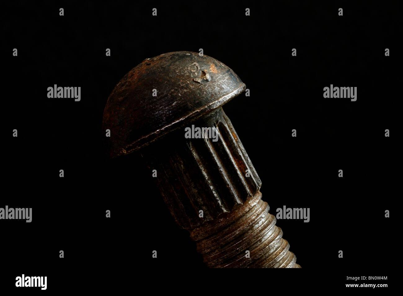 Alten Thread Stahlniete Stockbild