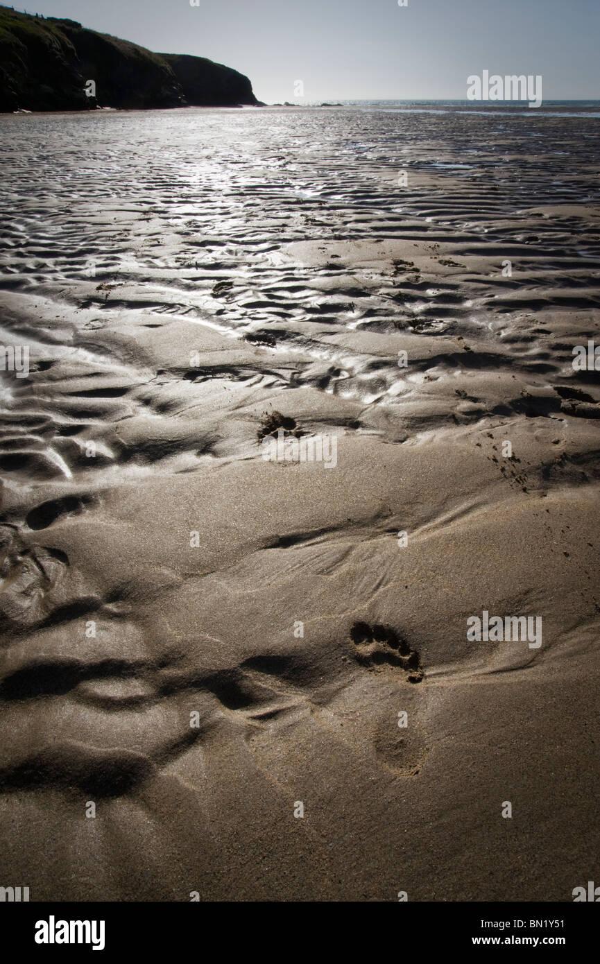 Kontrastreiches Bild von Mustern und Fußabdruck im Sand am Strand Porthcothan, St Merryn, Cornwall, UK Stockbild