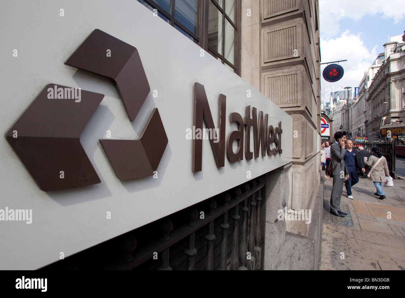 Ein Zweig der National Westminster Bank in London Stockbild