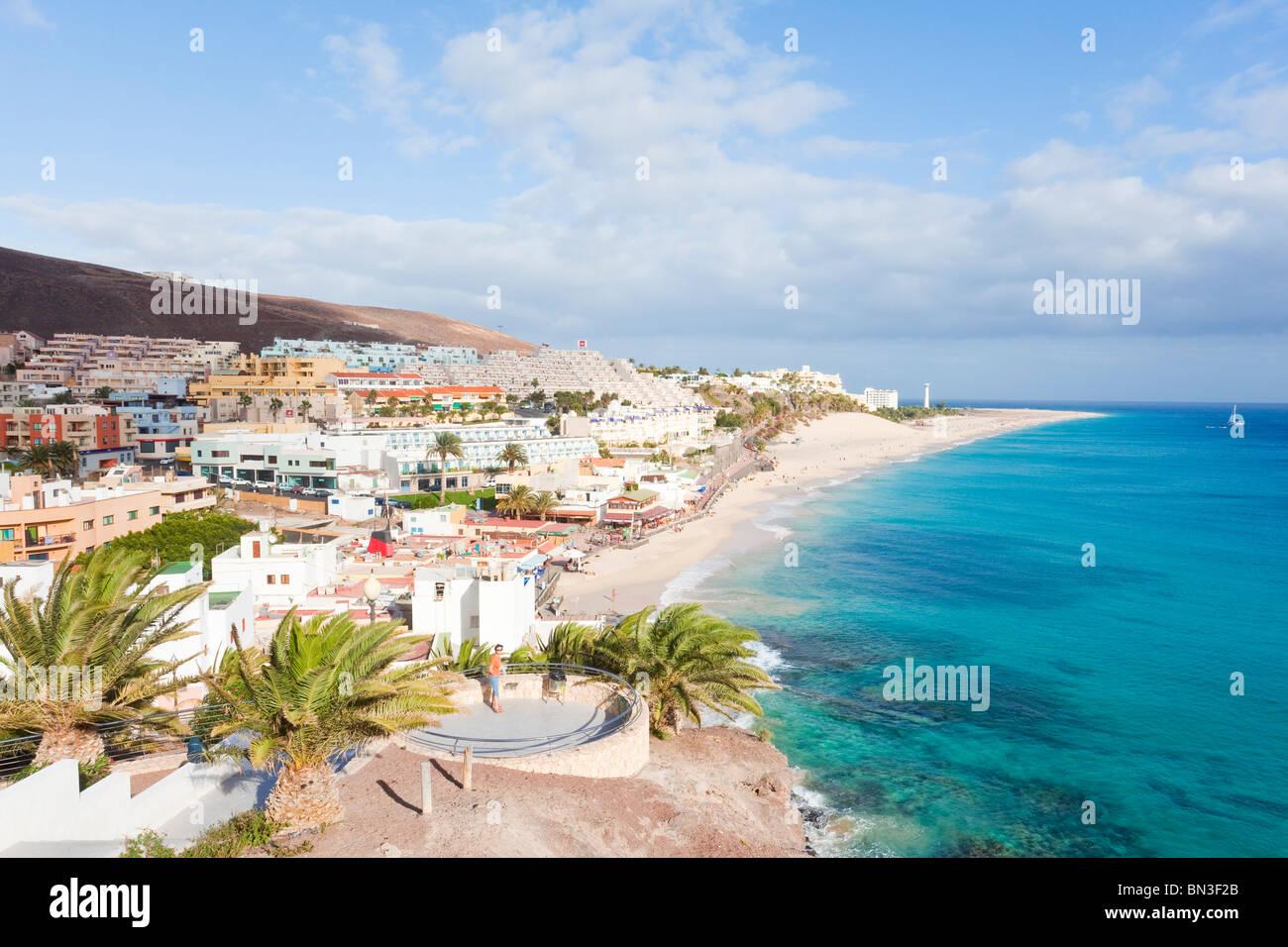 Uferlinie von Morro Jable, Fuerteventura, Spanien, erhöhten Blick Stockbild