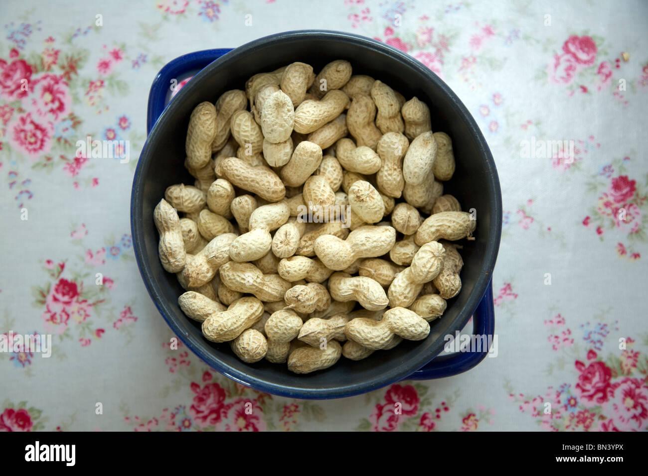 Blaue Schale Blumen Tisch Tuch Erdnüsse in Schalen Stockbild