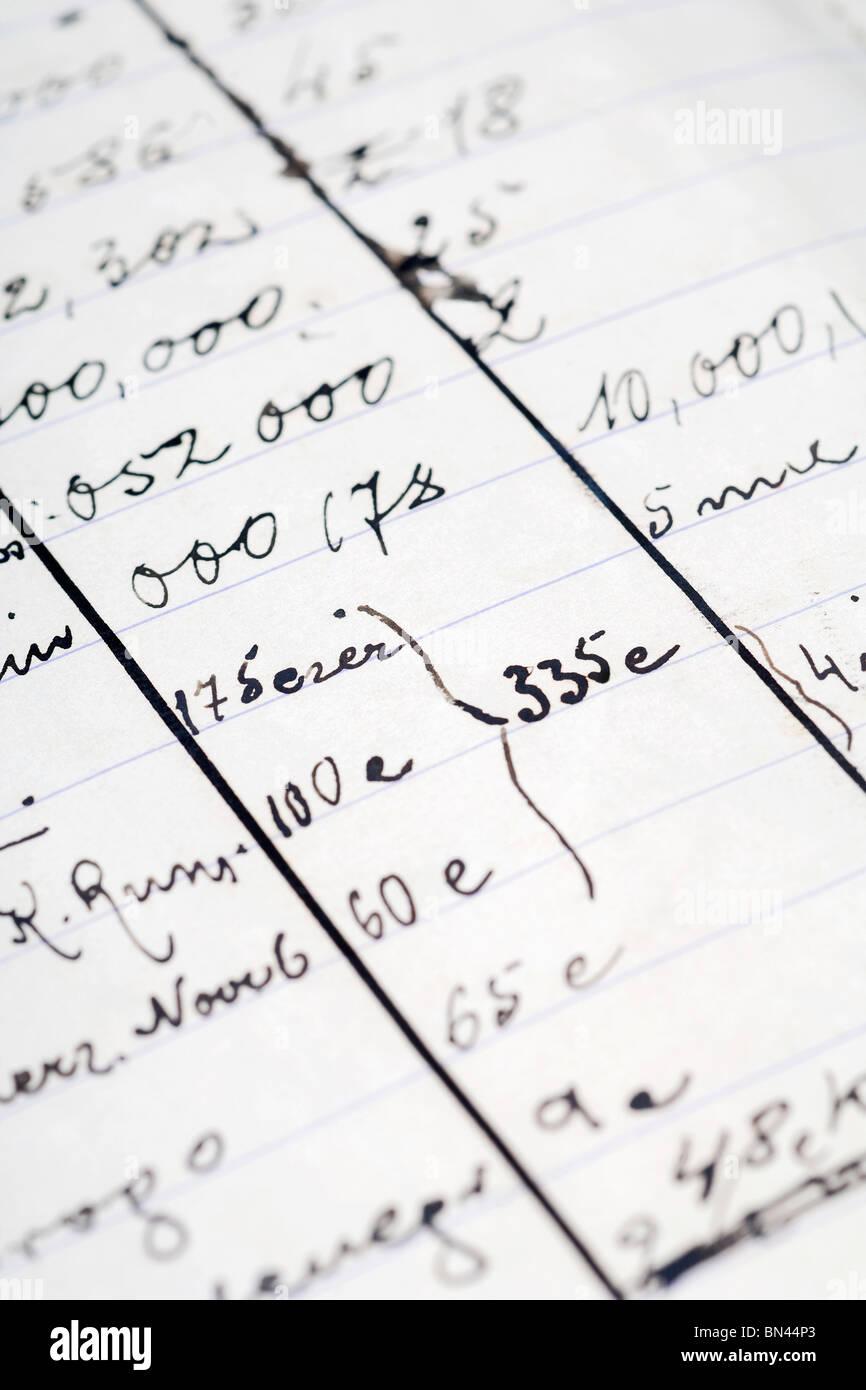 eine Detal aus einem alten Notizbuch - persönliche Finanzen Stockbild