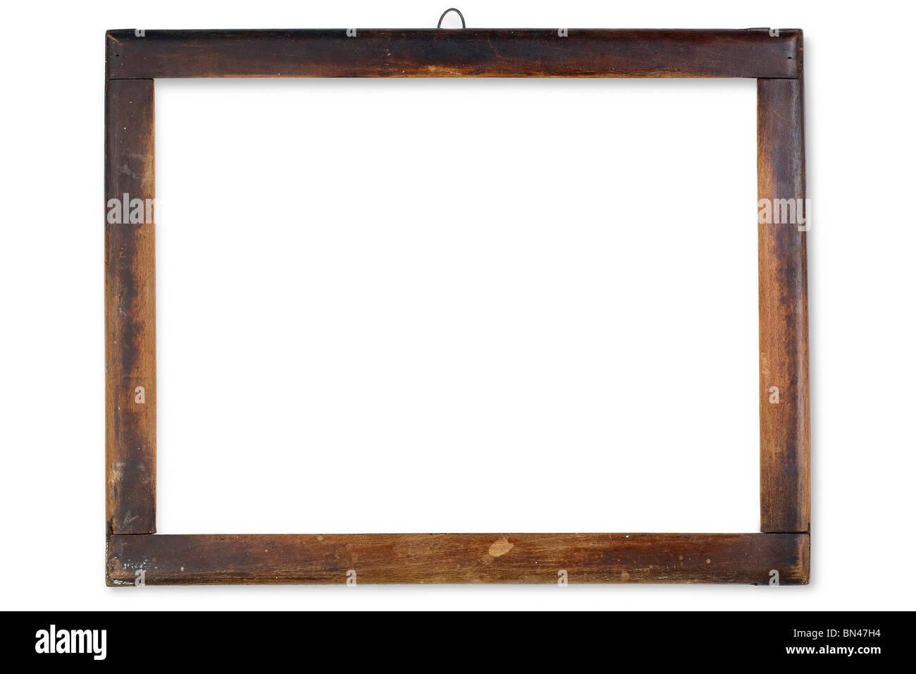 eine alte Holzrahmen auf weiß Stockbild