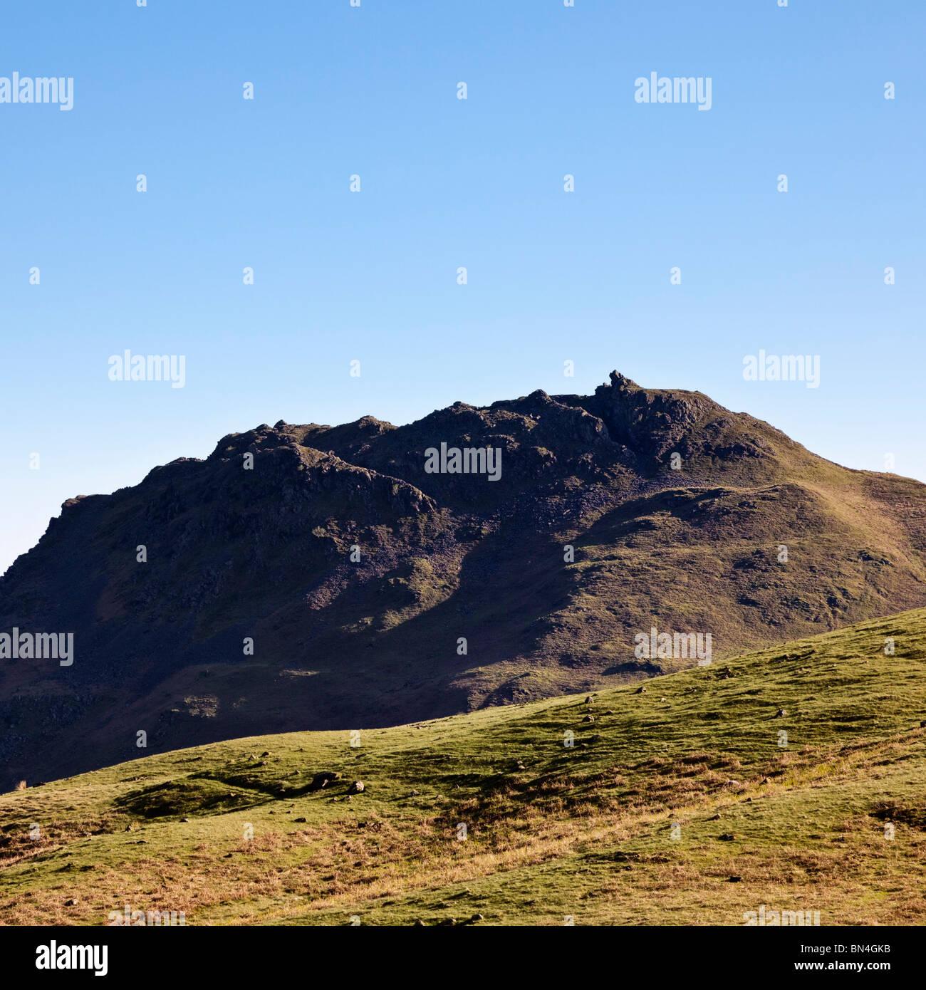 Der Löwe und das Lamm Felsformation am Helm Crag, in der Nähe von Grasmere, Lake District, Cumbria, England, Stockbild