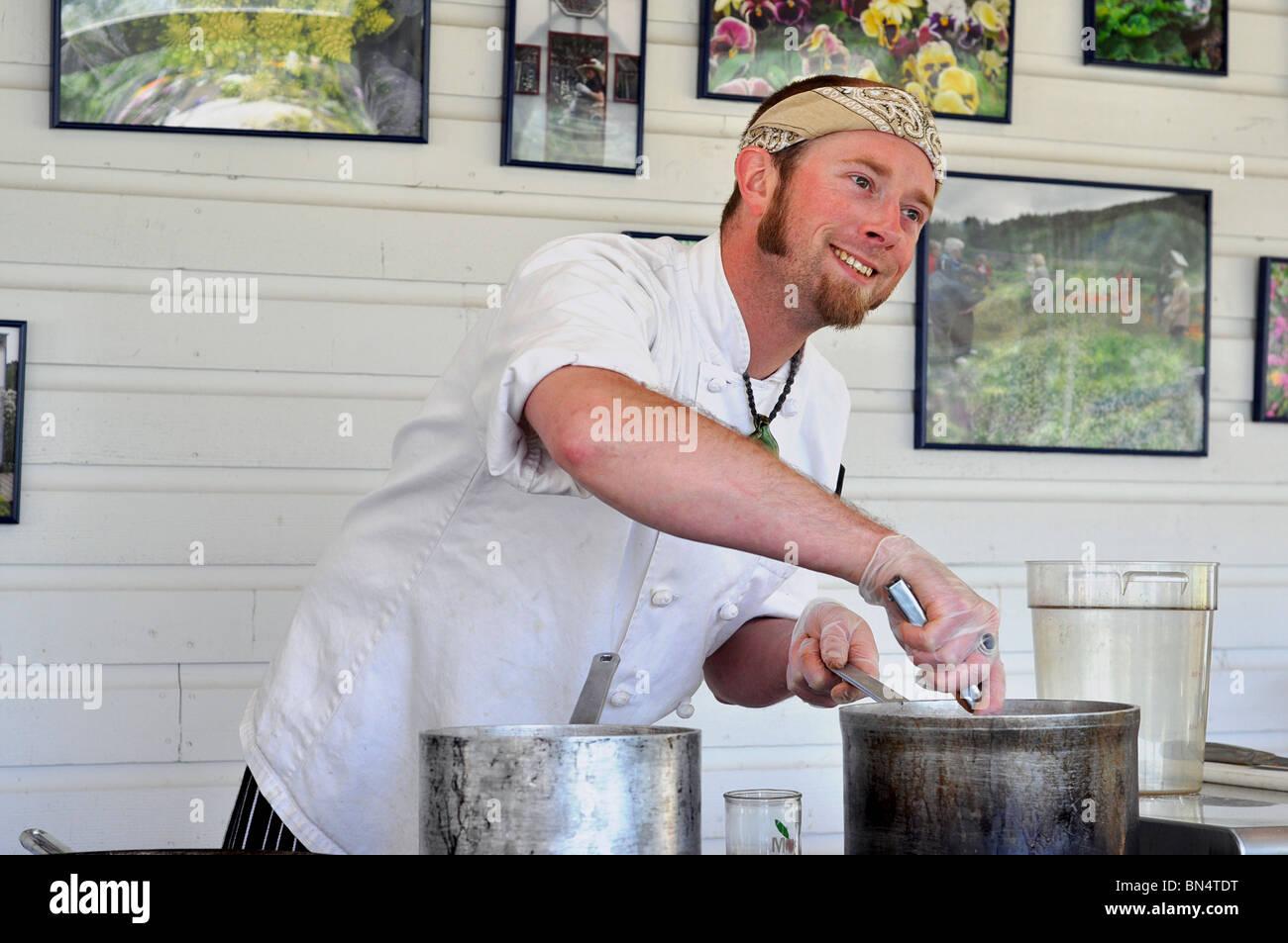 Junge männliche Küchenchef, Koch Stockbild