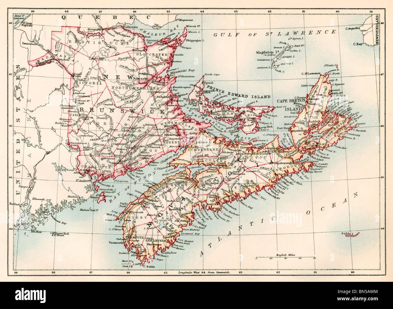 Nova Scotia Map 19th Century Stockfotos Nova Scotia Map
