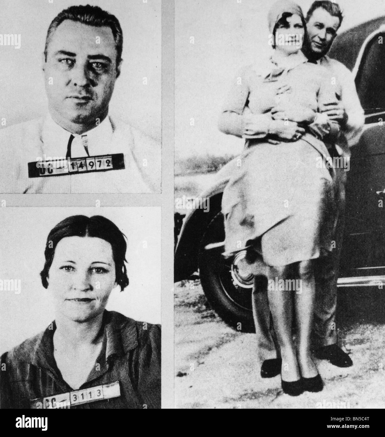 MACHINE GUN KELLY - George Kelly Barnes - (1895-1954) US Verbot Ära Straf- und Frau Kathryn Thorne Stockbild