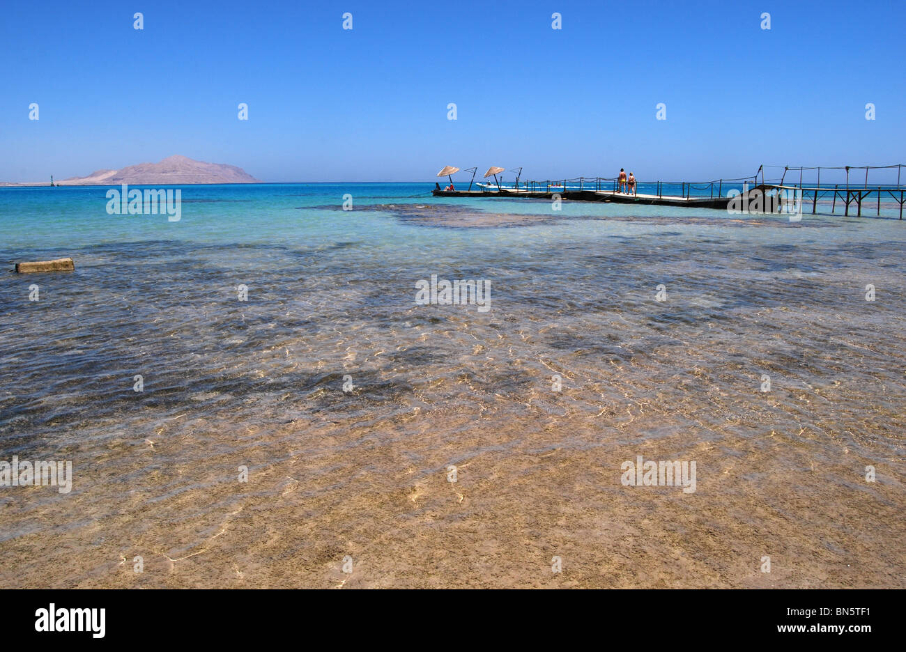 Steg ins Meer Sharm Hausnummer 2927 Stockbild