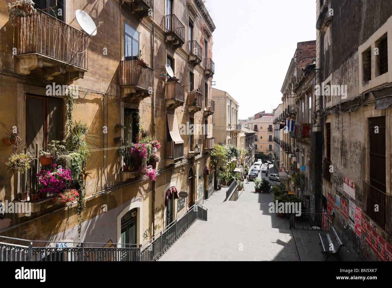 Straße im Zentrum Stadt, Catania, South East Coast, Sizilien, Italien Stockbild