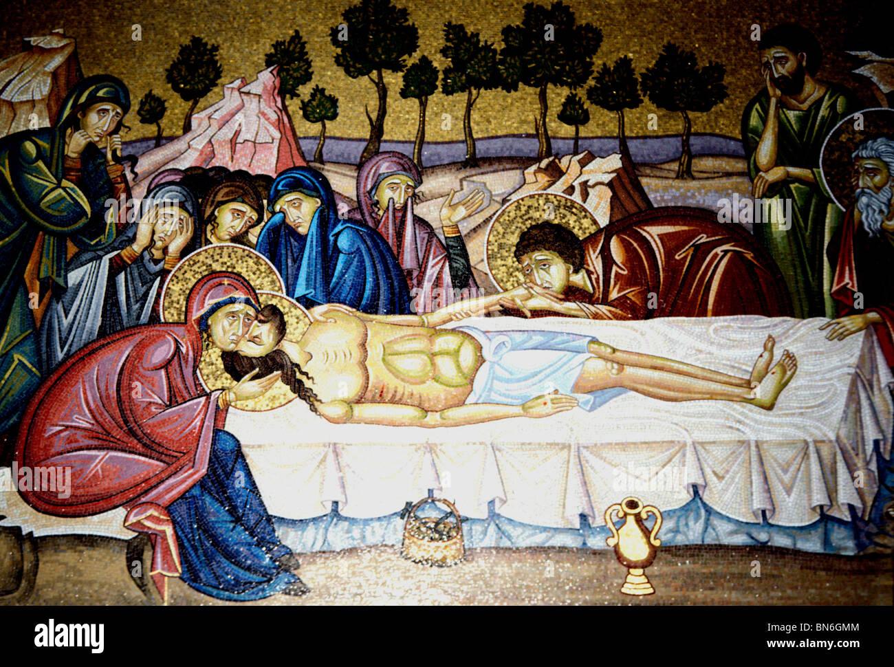 Stein von der Salbung, Gemälde von Christus nach seiner Kreuzigung, Kirche Grabeskirche, Jerusalem Stockbild