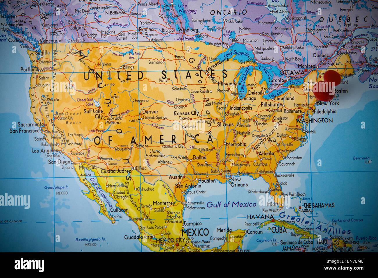 Kleinen Pin Zeigt Auf New York Karte Der Vereinigten Staaten Von