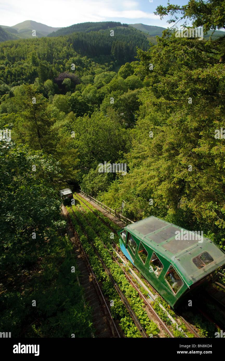 Der wasserbetriebene Cliff Railway an das Zentrum für Alternative Technologie, Machynlleth, Powys Wales UK Stockbild