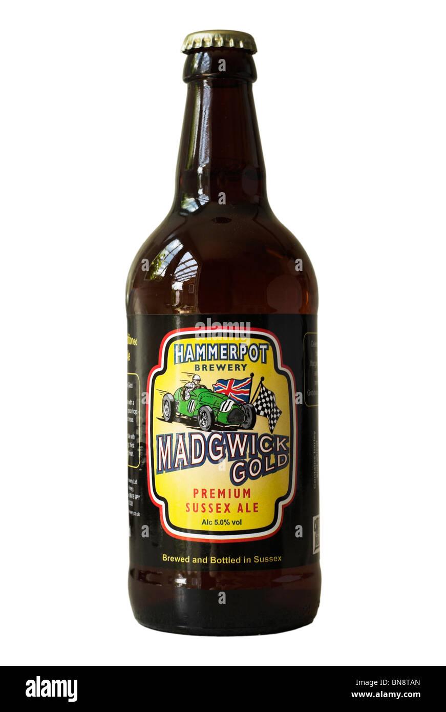 Hammerpot Brauerei Madgwick Gold Premium Sussex Ale Flaschenbier - Juni 2010. Stockbild