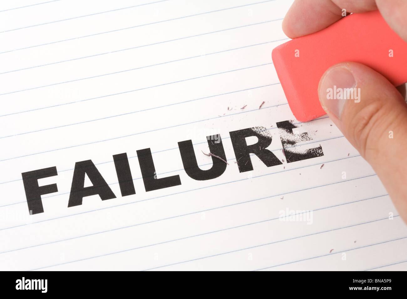 Radierer und Wort Scheitern, Konzept machen ändern Stockbild