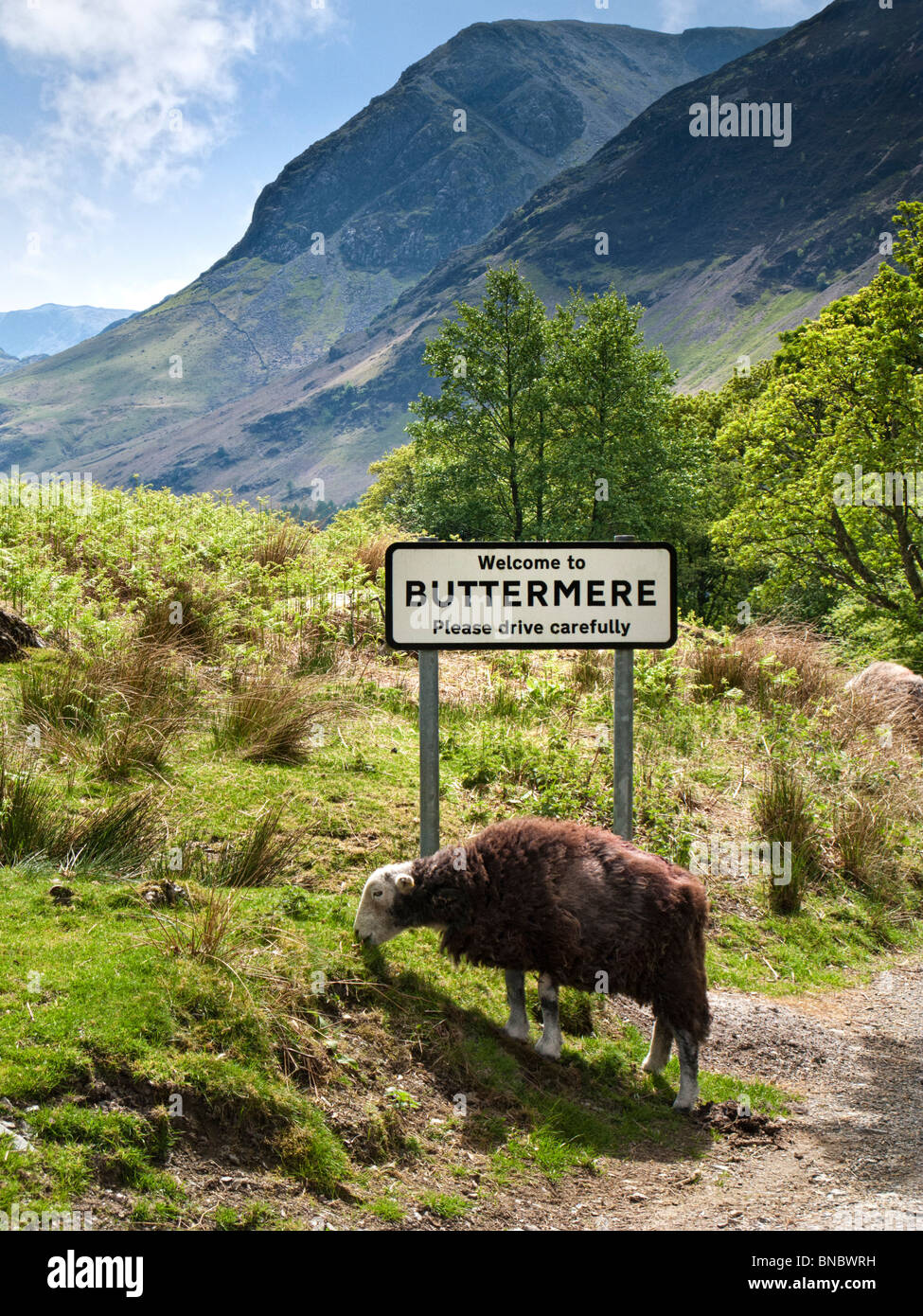 Buttermere, Lake District, England mit Village Road Sign Stockbild