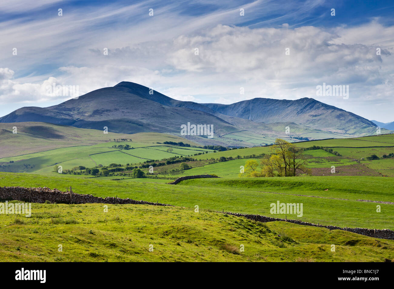 Ansicht von Skiddaw, Lake District, UK - Nordwand von Uldale Stockbild