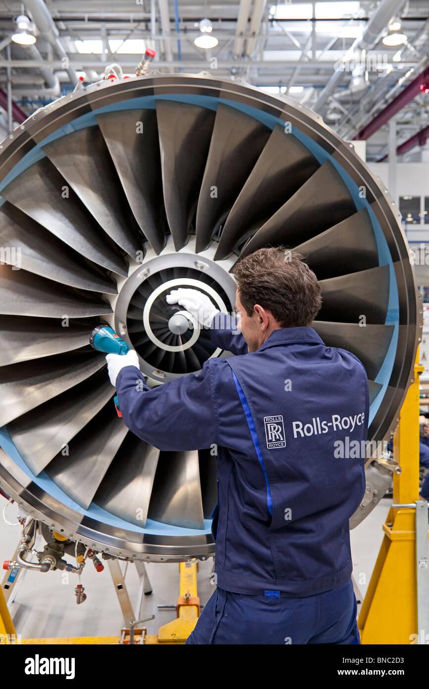 Rolls-Royce Produktionsstätte des Flugzeug-Antriebe in Deutschland Stockbild