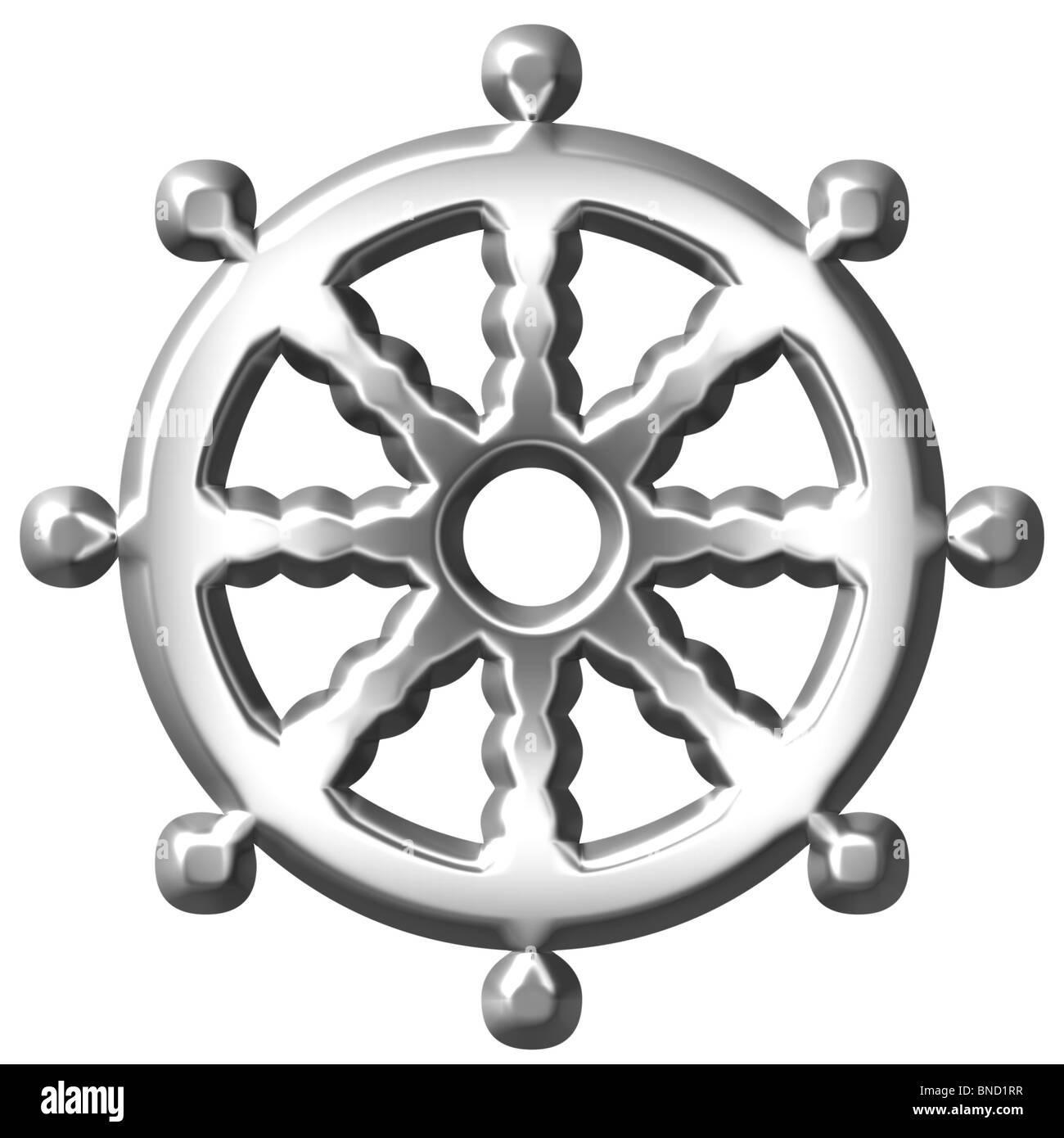 Silber Buddhismus 3d Symbol Rad Des Dharma Stockfoto Bild 30404971