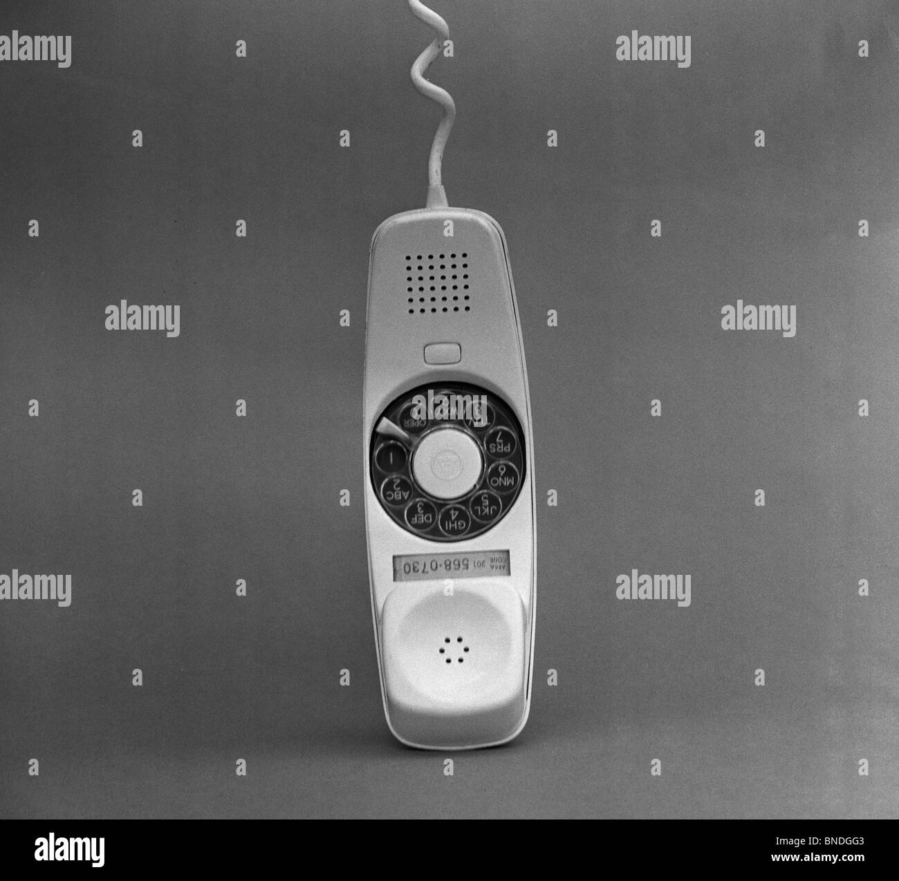 Nahaufnahme von einem Telefonhörer Stockbild