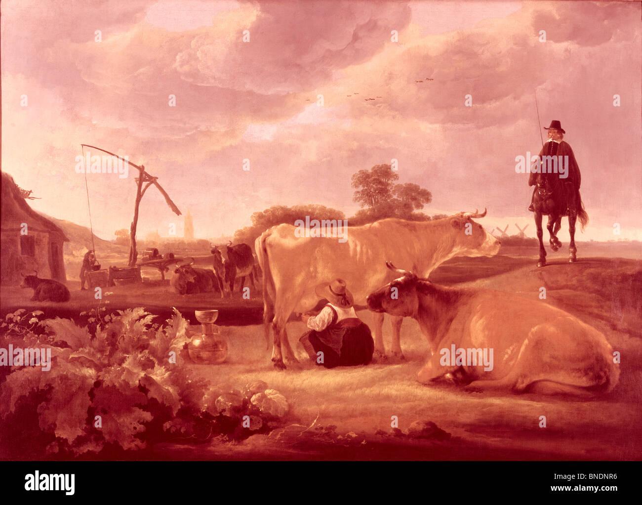 Landschaft mit Vieh und Milchmädchen von Aelbert Cuyp (1620-1691) Stockbild