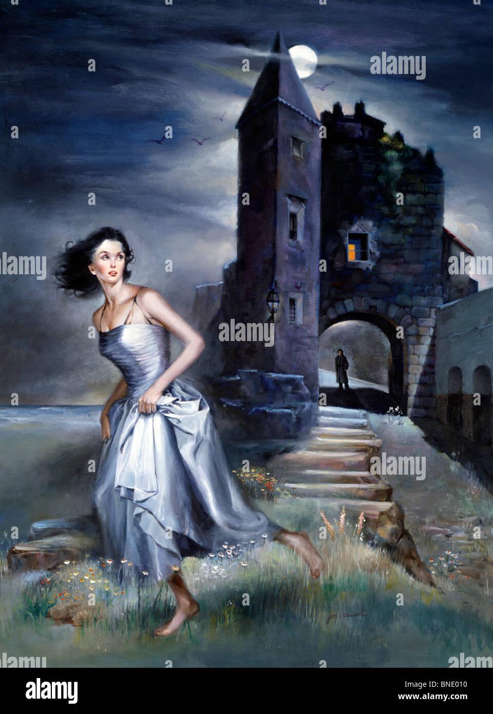 Frau rennt mit einem Schloss im Hintergrund Stockbild