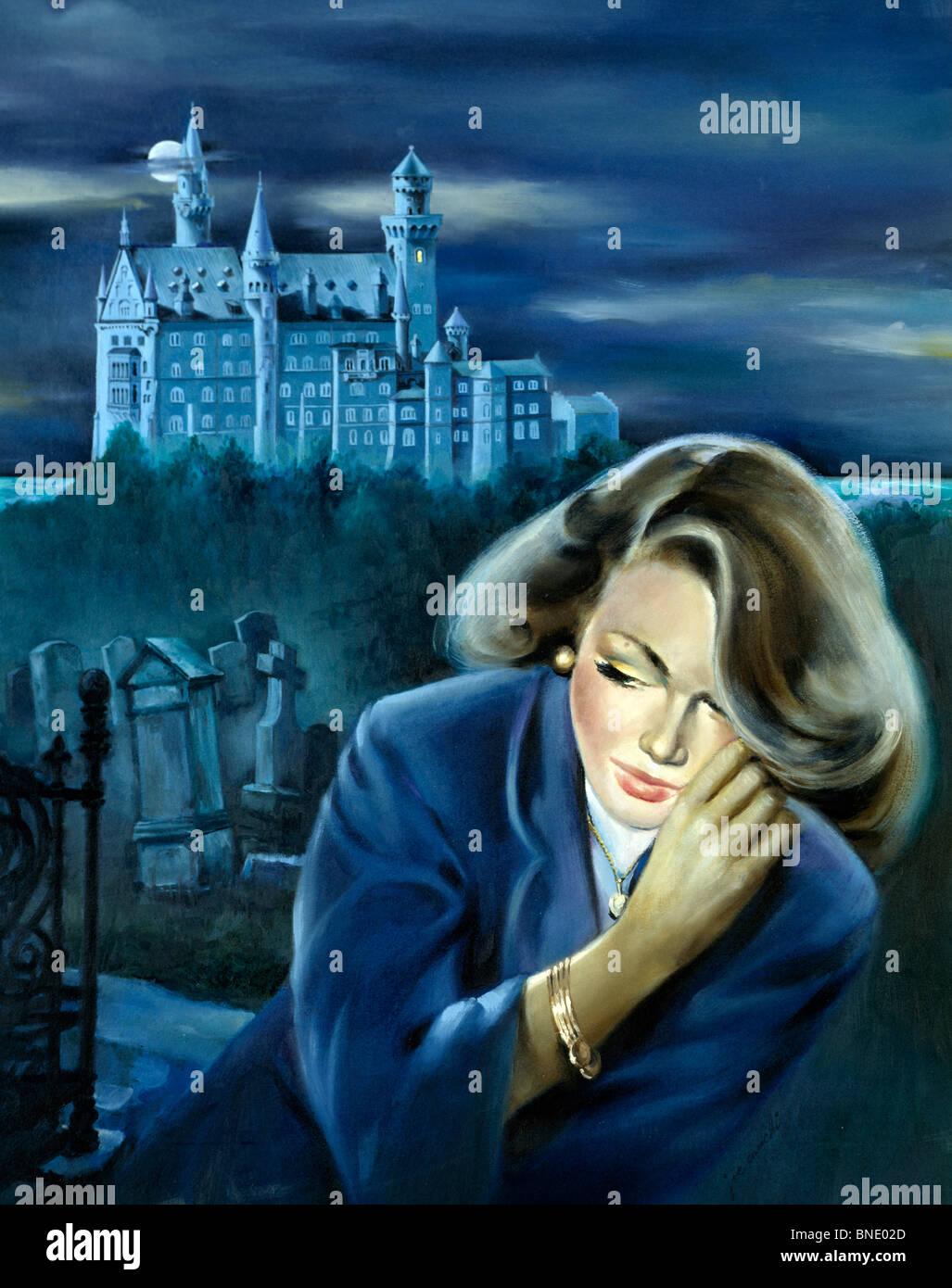Frau mit einem Schloss im Hintergrund Stockfoto