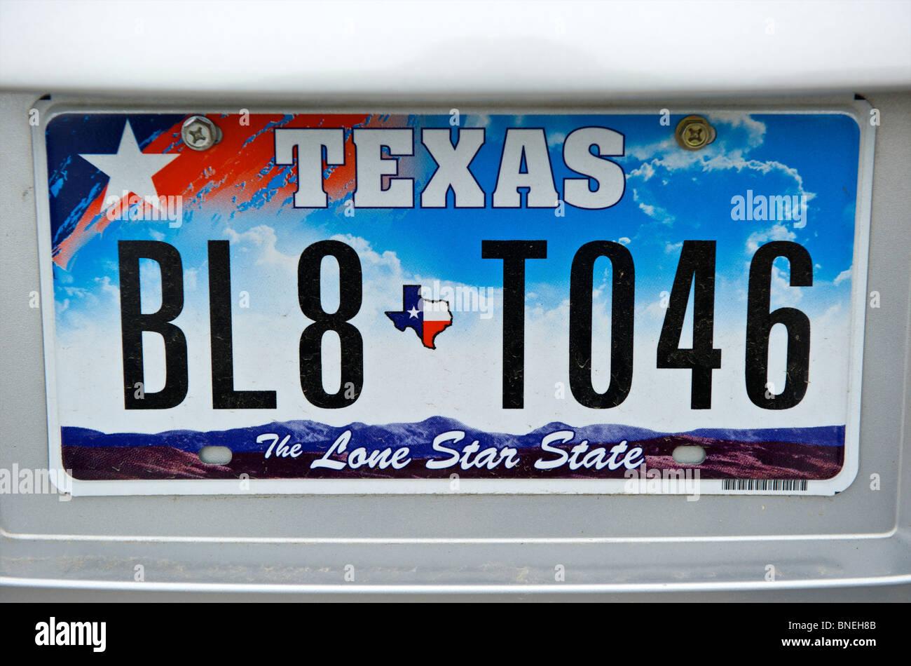New Texas lone star State Nummernschild, Texas, USA Stockfoto