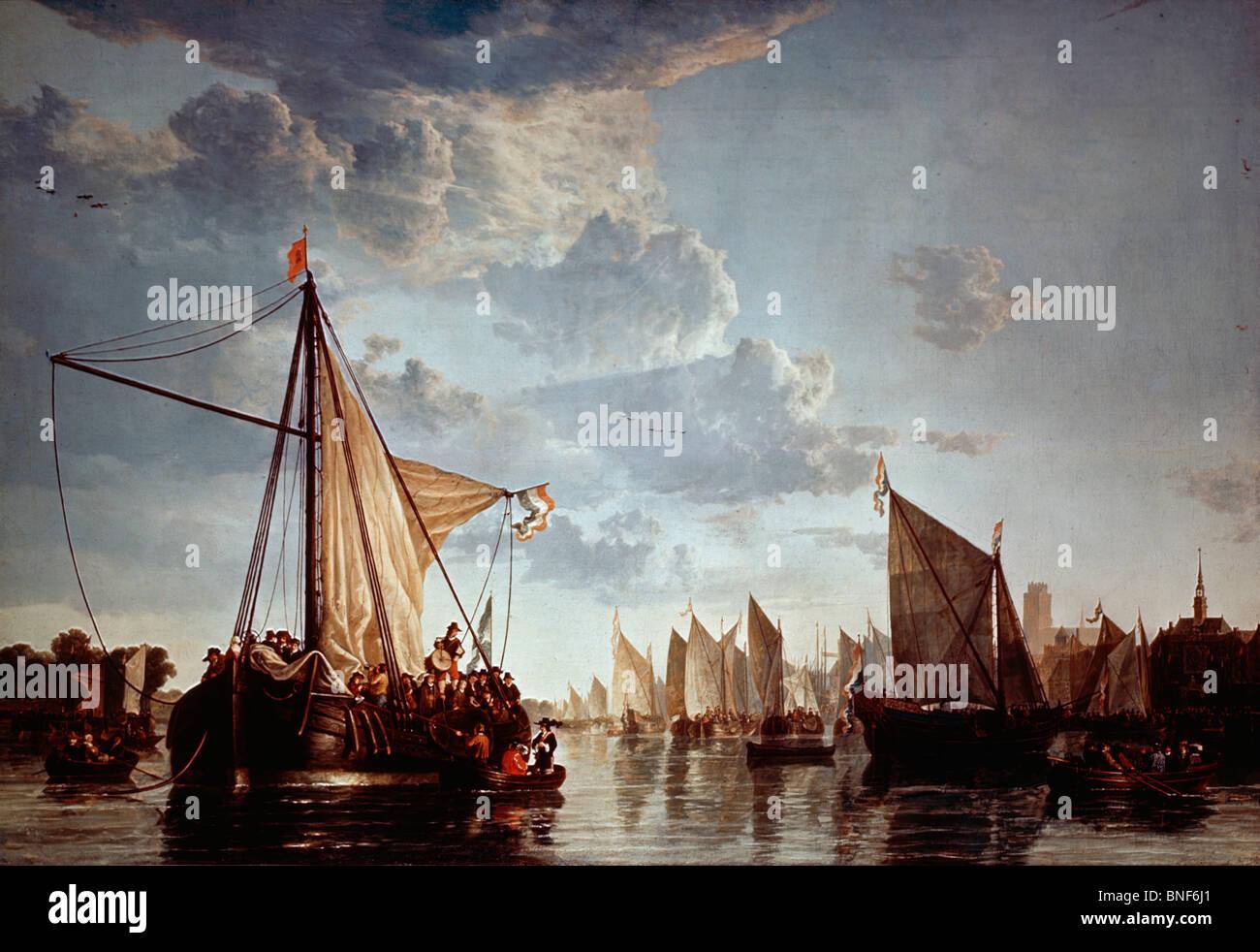 Die Maas bei Dordrecht, von Aelbert Cuyp (1620-1691) Stockbild