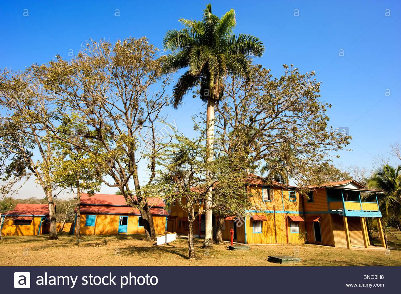 Weiler, die zu der Familie, wo Fidel Castro geboren wurde; hier sein Haus. Saint-arailles, Provinz Holguin, Kuba Stockbild