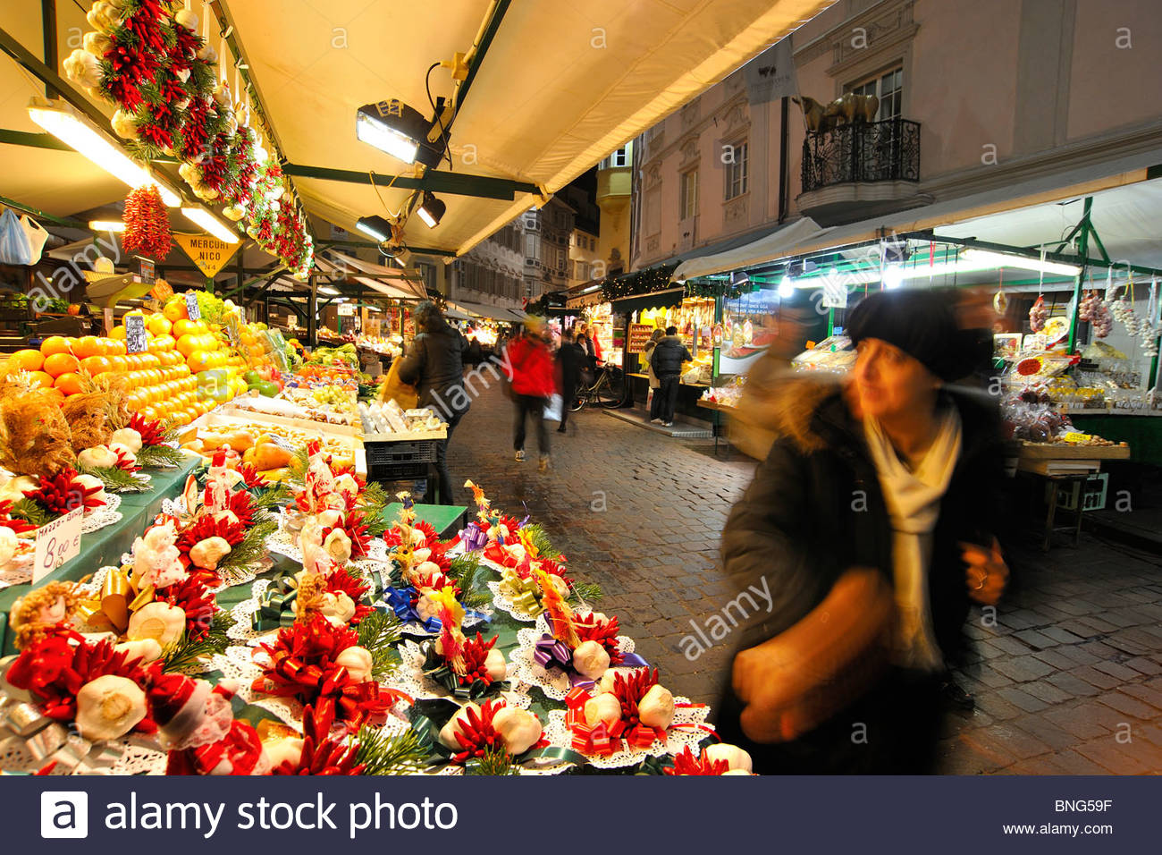 Piazza Delle Erbe, Bozen, Trentino Alto Adige, Italien Stockbild