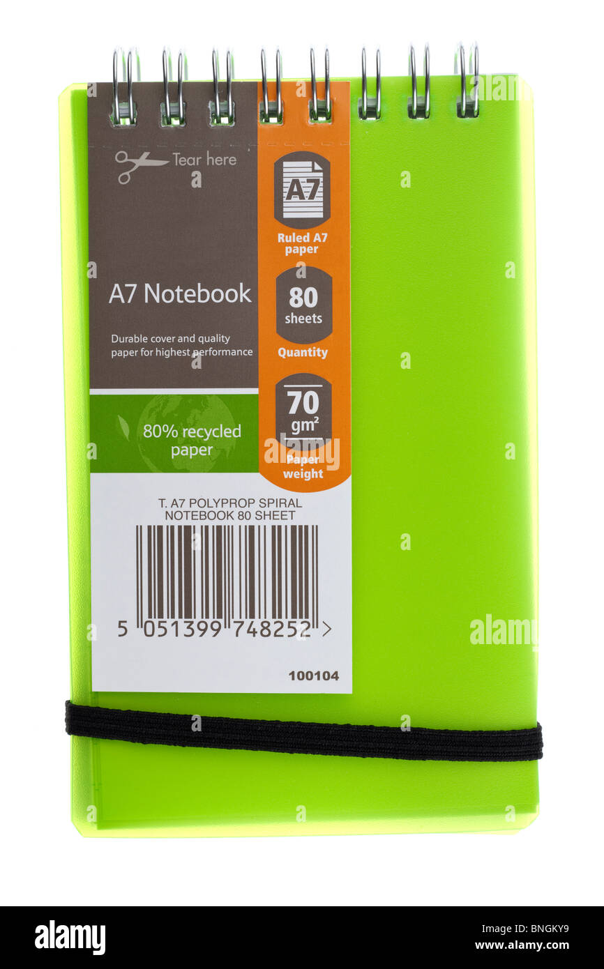 Green T A7 Polypropylen Spiralbindung 80 Blatt notebook Stockfoto