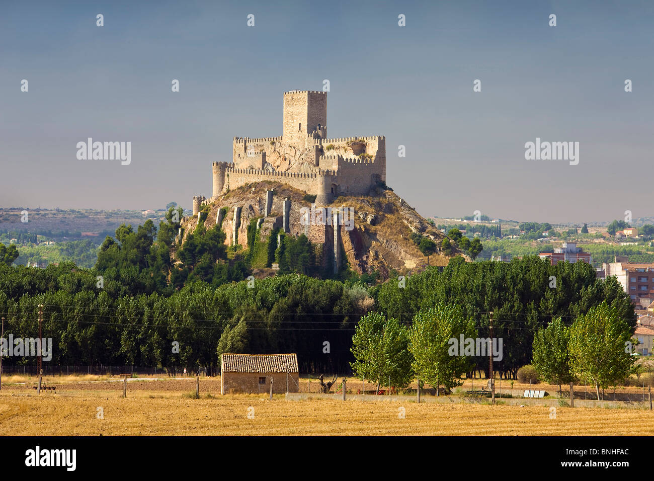 August 2008 Spanien Albacete Provinz Almansa Burg mittelalterliche Landschaft Stockbild