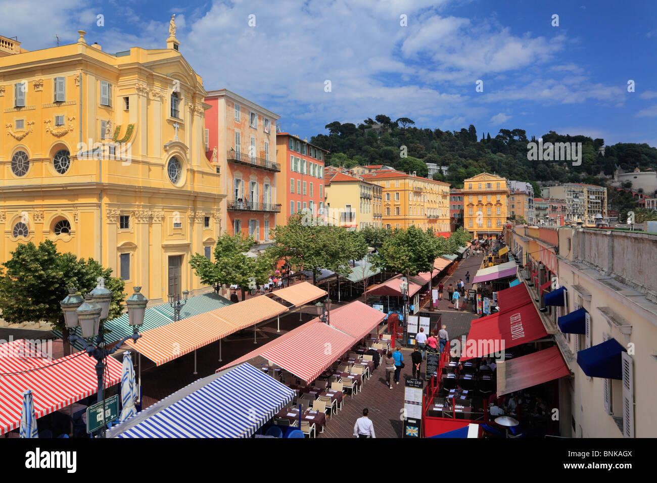 Blumenmarkt in der Altstadt, Vielle Ville, Teil von Nizza an der französischen riviera Stockbild