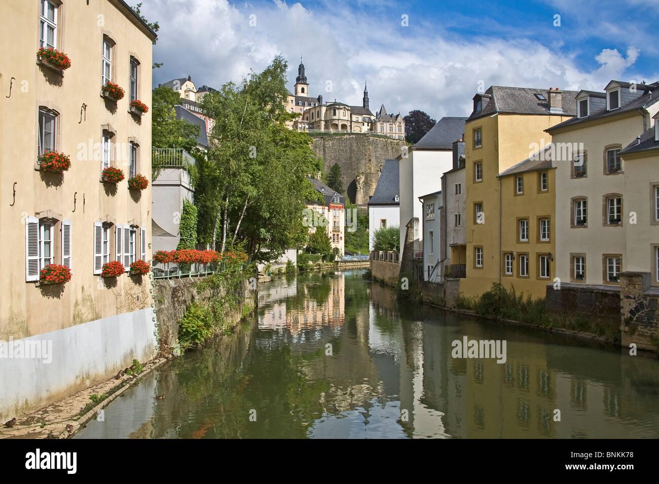Luxemburg. Blick vom Fluss Alzette Juli 2OO8 Stockbild