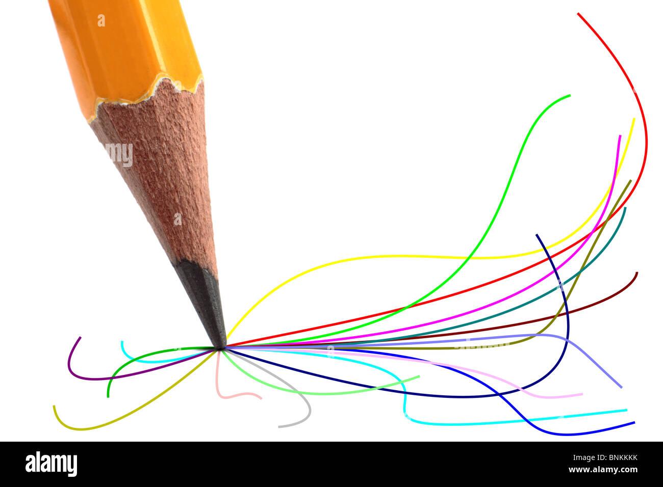 Bleistift mit farbigen Linien fließen von der Spitze. Stockbild