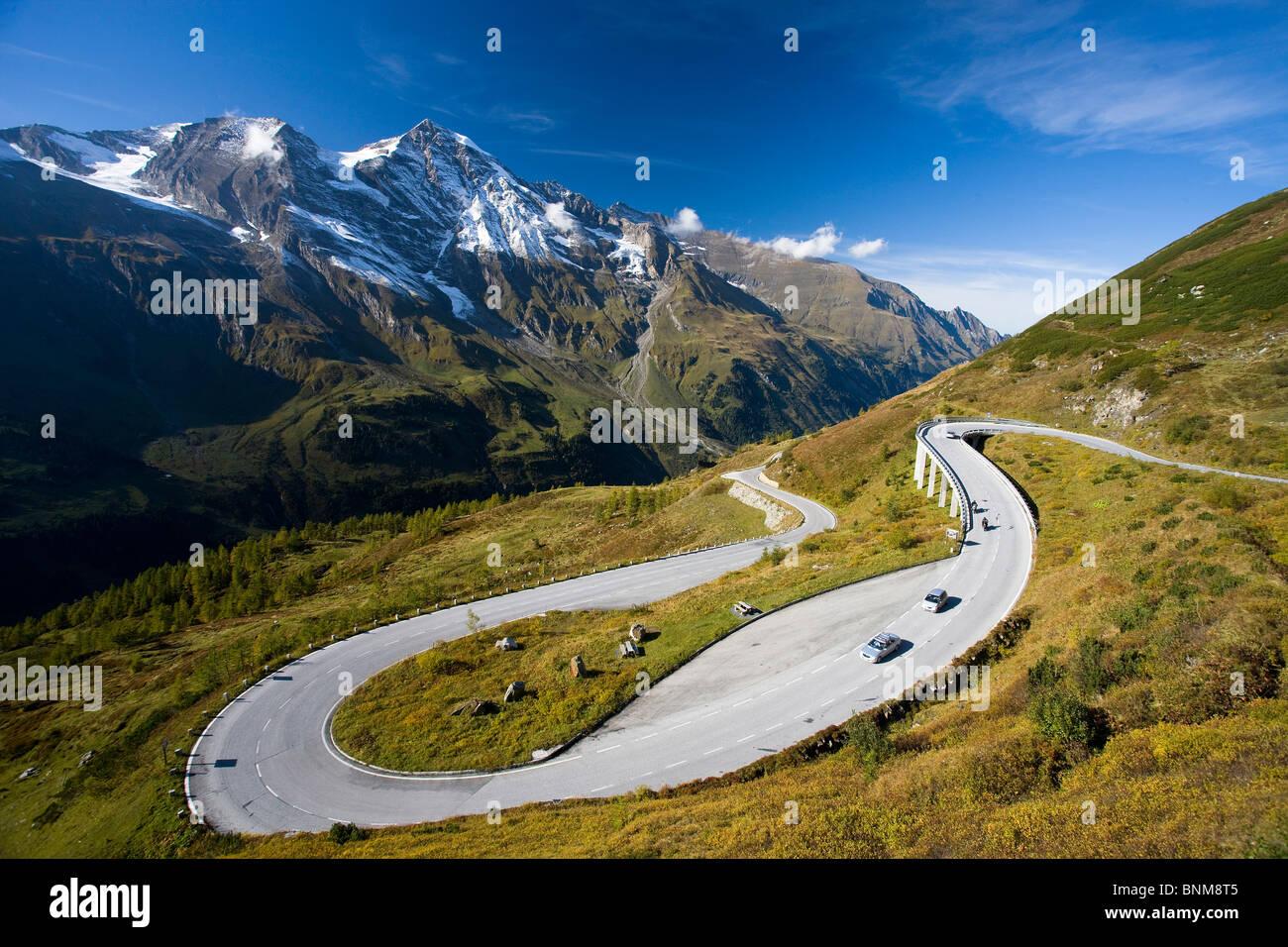 Österreich Grossglockner Pass Gebirgspass Alpen Sepentines hohen Tauern Berge Ferien Reisen, Stockbild