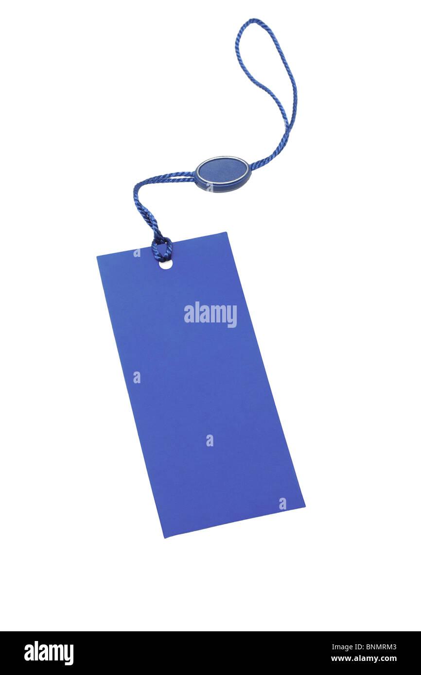 Blaue Leere Preisschild auf weißem Hintergrund Stockbild